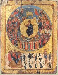 Eastern Orthodox Icon Depicting Christ Enthroned In Heaven Surrounded By The Ranks Of Angels And Saints At Bottom Is Paradise With Bosom