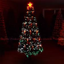 6ft LED Fibre Optic Christmas Tree Pre Lit Xmas Decoration With Candle Bow