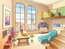 living room with furniture clipart image