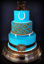 Awesome Country Western Wedding Cakes With Blue Turquoise Rustic