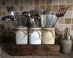 Rustic Utensils Holder Mason Jar Kitchen Farmhouse Decor
