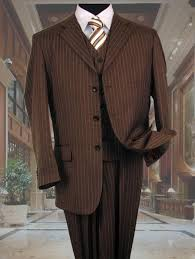 1930s Style Mens Suits Brown With Cream Pinstripe Vested 3 Piece Three Suit Jacket