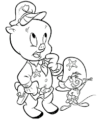 Printable Coloring Pages Of Looney Tunes Porky Pig And Speedy Gonzales As Cops