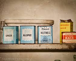 Spices Vintage Baby Blue Sepia Kitchen Decor
