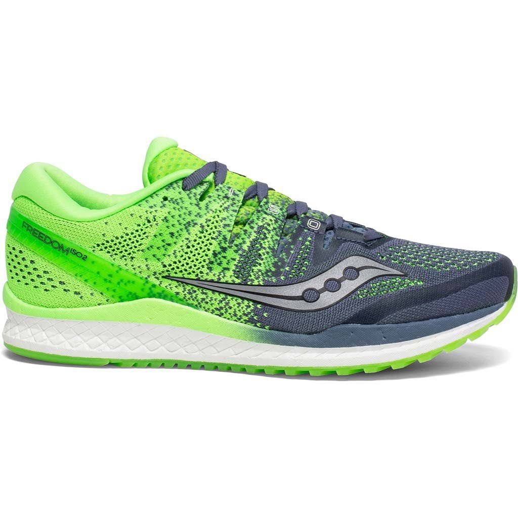 Saucony Men's Freedom ISO 2 Running Shoe - Grey/Slime, 12