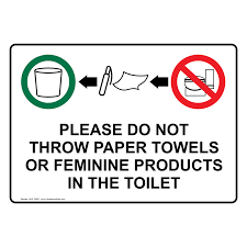 Printable Handicap Bathroom Signs by Do Not Throw Towels Or Feminine Products In The Toilet Sign Nhe 15893