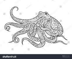 Octopus Sea Animal Coloring Book For Adults Vector Illustration Anti Stress Adult