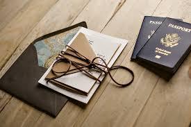 Travel Themed Wedding Invitation Passport Leather Twine