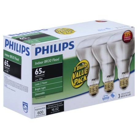 Philips 65W Equivalent Halogen BR30 Dimmable Flood Light Bulb - 3 Pack