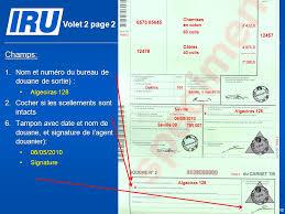 bureau de sortie douane scénario 6 remplissage du carnet tir par les douanes de départ et de