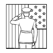 Officer Giving Salute To US Flag On Day Coloring Page