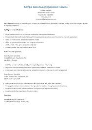 Sample Sales Support Specialist Resume