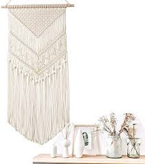 koitoy makramee wandbehang boho wanddeko wandteppiche aus baumwolle handgefertiges dekorativer beiger für wohnzimmer dekoration