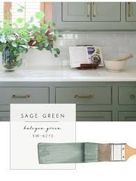Sage Colored Kitchen Cabinets by Sage Green Cabinets Marble Counters Subway Backsplash Brass