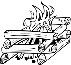wood pile clip art black and white