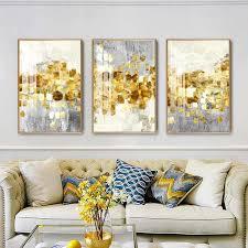 nordic abstrakte goldene folie leinwand malerei moderne grau gold wand kunst poster und drucke bilder für wohnzimmer wohnkultur