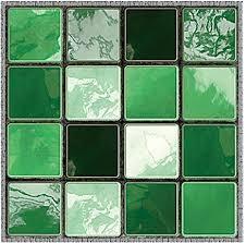 prosperveil 19 stück grüne ziegelstein mosaik wandfliesen aufkleber selbstklebend wasserdicht für küche badezimmer fliesen wandaufkleber