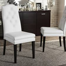 Upholstered Dining Chairs With Nailheads by Baxton Studio Dylin White Faux Leather Upholstered Dining Chairs