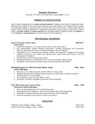 Resume Examples For Restaurant Supervisor Elegant Manager Objective Luxury Personal Skills