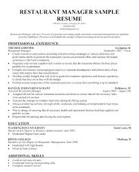 Sample Resume Management Resumes For Positions Restaurant Experience Data