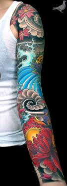 Color Ink Full Sleeve Asian Tattoos