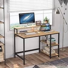 tribesigns computertisch industrieller schreibtisch für das studium computerarbeitsplätze pc schreibtisch mit metallrahmen 2 regale für zuhause