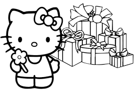 Click To See Printable Version Of Hello Kitty Happy Christmas Coloring Page