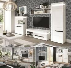 details zu wohnwand anbauwand weiß hochglanz wohnzimmer set c iris led soft 2 farben
