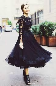2016 tiered black cocktail dresses amazing design crew a line tea
