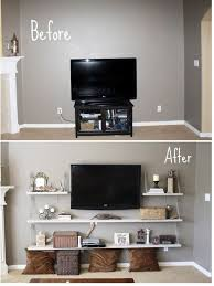 Floating shelves around TV to give it balance note the shit on