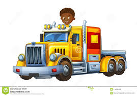 Cartoon Scene With Happy And Funny Child - Boy In Cargo Truck ...