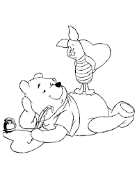 Pooh And Piglet Valentines Day Craft Coloring Page