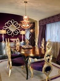 Opulent Purple Dining Room   HGTV Vig Fniture Modrest Kingsley Modern Black Rose Gold Ding Chair Of America Duarte Iii Crocodile Textured Zuo Elio Set 2 Antique Sets Glass Tops Bases Chairs Frame Pedestal Vintage European And Round Table Beautiful Leopard Print 6 Room Wooden Best Of 25 With Legs Ideas Design 100 Transformed Reality Daydream Meridian Karina The Classy Home Inspirational 50 And Dcor Inspiration For New Years Eve Nage Designs Patings On Blue Wall Gold Clock In Modern Ding Room