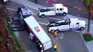 100 Truck Stop San Diego Dole Semitruck Veers Off Freeway Crashes Onto Street Below