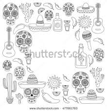 Adult Coloring Book Mexico Mexican Cuisine Food And Drinks Day Of The Dead