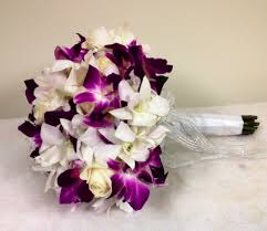 Elegant Silk Tropical Wedding Flowers Bouquets Matched With Lovely White Roses And Purple Orchid Also