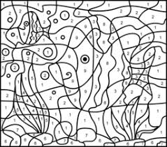 Color By Number Fish Worksheets Animals Coloring Pages On Pictures For Preschool