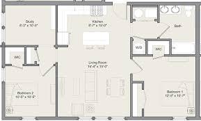 2 Bed 1 Bath w Study A B Merwick Stanworth Faculty housing