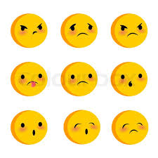 Emotional Cute Sad Poor Faces Smiles Big Set Vector Illustration Smile Icon Face Emoji Yellow Funny Emotion On Transparent Background