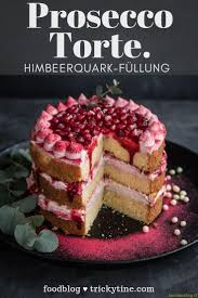 prosecco cake with raspberry and quark filling by trickytine