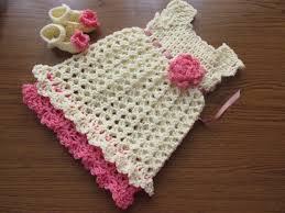 cream pink baby cream baby dress crochet baby clothes