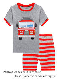 100 Fire Truck Pajamas Family Feeling Little Boys Short Sets 100 Cotton