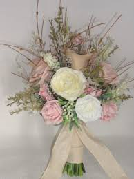 Rustic Style Blush Pink Calla Lily Rose Meadow Flower Bridal Bouquet