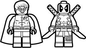 Lego Deadpool Vs Robin Coloring Book Pages Kids Fun Art