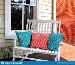 Front Porch Rocker And Pillows Stock Image - Image Of Tile ... My Favorite Finds Rocking Chairs Down Time Exciting Rattan Wicker Chair Cushions Agreeable Fniture Rural Grey Wooden Single Rocking Chair Departments Diy At Bq Outdoor A L Hickory 7 Slat Rocker In 2019 Handsome Green Tweed Cushion Latex Foam Rustic American Sedona Lowes For Inspiring Antique Classic Check Taupe Plaid Standish Darek La Lune Collection Belham Living Raeburn Rope And Wood Walmartcom