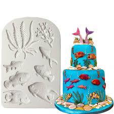 fisch algen silikon form diy kuchen grenze fondant kuchen dekorieren werkzeuge meer korallen cupcake süßwaren schokolade gumpaste form