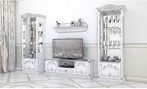 interdesign24 barock wohnwand in weiss silber hochglanz 3 teilig