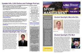 Lsu Online Help Desk by Sport Management Newsletter Fall 2016 By Lsu College Of Human