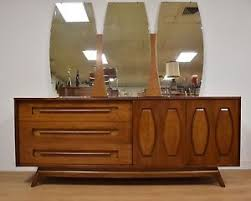 walnut dresser and mirror by young manufacturing mid century