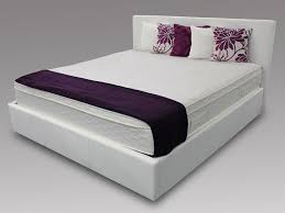 Sr Lucca Super King Size White Faux Leather Ottoman Bed Frame